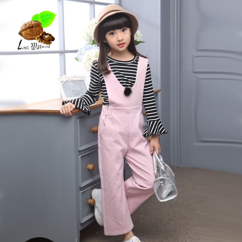 girls cotton clothing sets spring and autumn childrens clothing girl fashion suspenders Bib pants child baby clothes 2017 new<br><br>Aliexpress