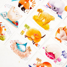 28 pcs/box Cute animals ass creative small cards greeting card postcards message card holiday universal Free shipping(China)