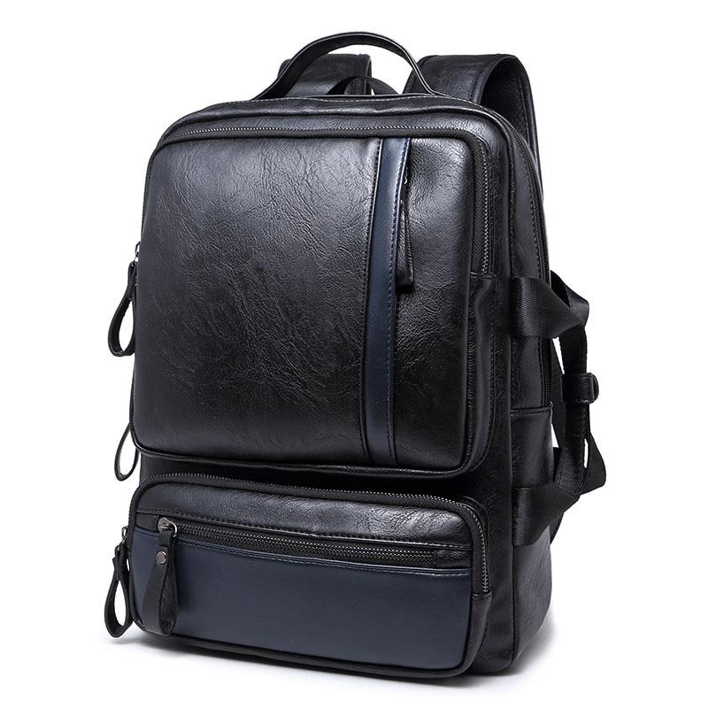 Men Backpacks PU Leather Teenager School Backpack Male Casual Mens Business Backpacks Vintage Man Travel weeked Bag<br>