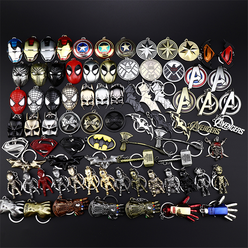Metal Marvel Avengers Captain America Shield Keychain Spider man Iron man Mask Keychain Toys Hulk Batman Keyring Key Gift Toys (28)