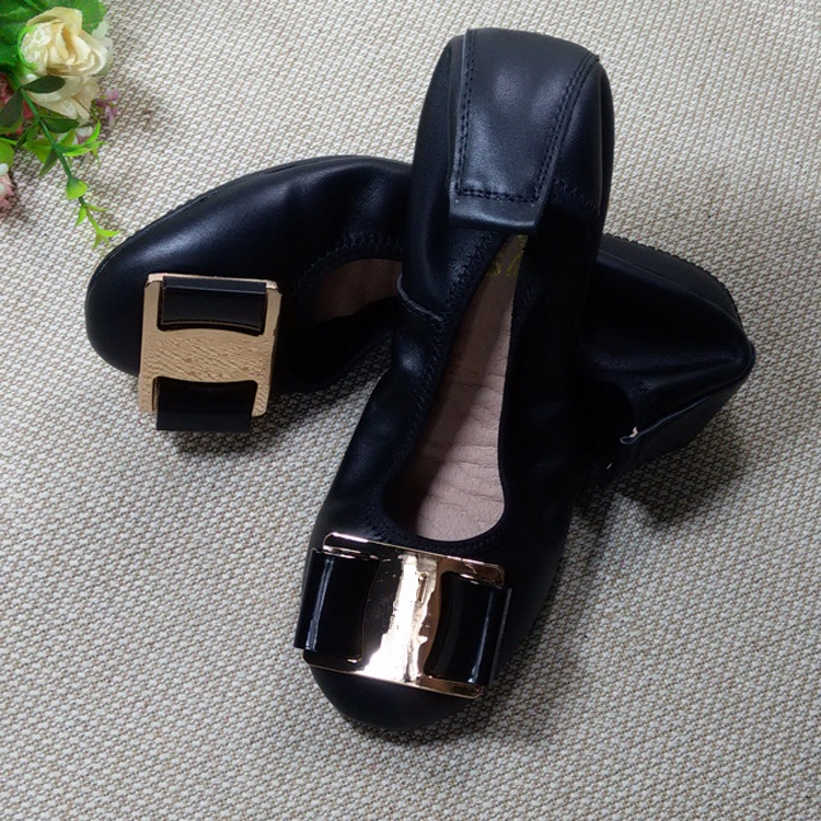 2017 New Autumn Shoes Lady Fashion Genuine Leather Flats Girls Casual Bowtie Foldable Shoes Elegant Comfortable Shoes F003<br><br>Aliexpress
