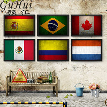Retro Nostalgic World Flag Canvas Painting Wall Pictures Living Room Decorative European World Cup Football Bar Poster Cuadros