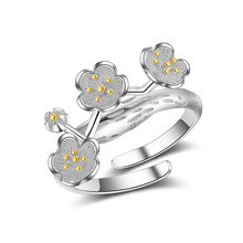 JEXXI Trendy Fashion Girls/Children Rings Pretty Silver Finger Ring Wholesale Cute Party Jewelry Plum Flower Design(China)
