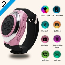 Wireless Bluetooth watch speaker Portable FM radio hands free call music Play selfie colorful light Bracelet watch speaker