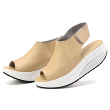 Summer Women Sandals Leather Casual Peep Toe Swing Shoes Lady Platform Wedges Sandals Walk Shoes Woman Black Big Size 41 42 43