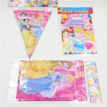 21pcs paper birthday flags&gift bag&tablecloth cartoon princess birthday party supplies 10person child party decoration set