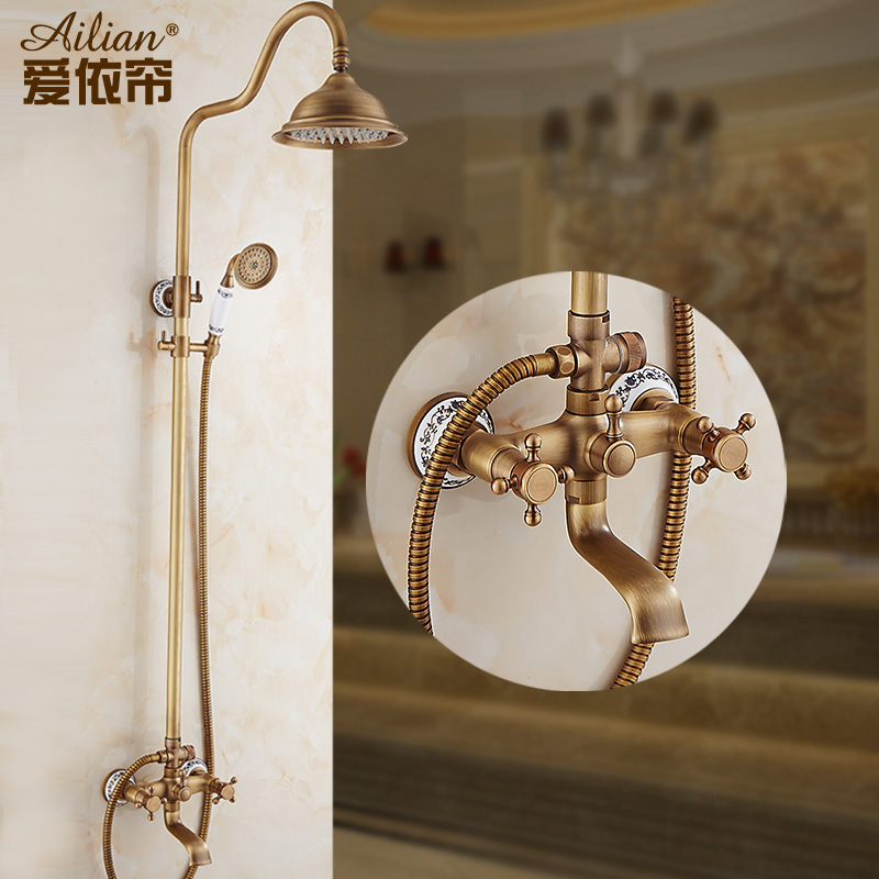 antique european luxury shower suite rain shower hot and cold bathroom rainfall shower head set free shipping