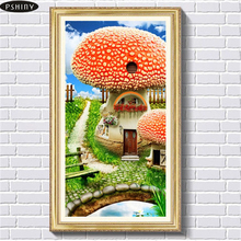 Pshiny 5d DIY diamond embroidery landscape cross stitch Diamond painting picture Mushroom mosaic Full round Dill Needlework F321