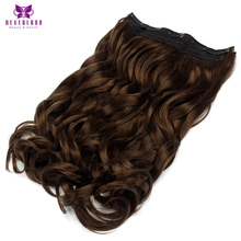 "Neverland 22"" 55cm 5Clips 2/30# One Piece Wavy Natural Dark Brown High Temperature Fiber Hairpiece Clip In Hair Extensions"