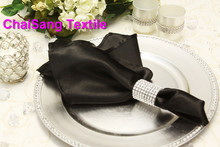 100pcs #Black Satin Napkin 45x45cm For Wedding Event &Party Decoration(China)