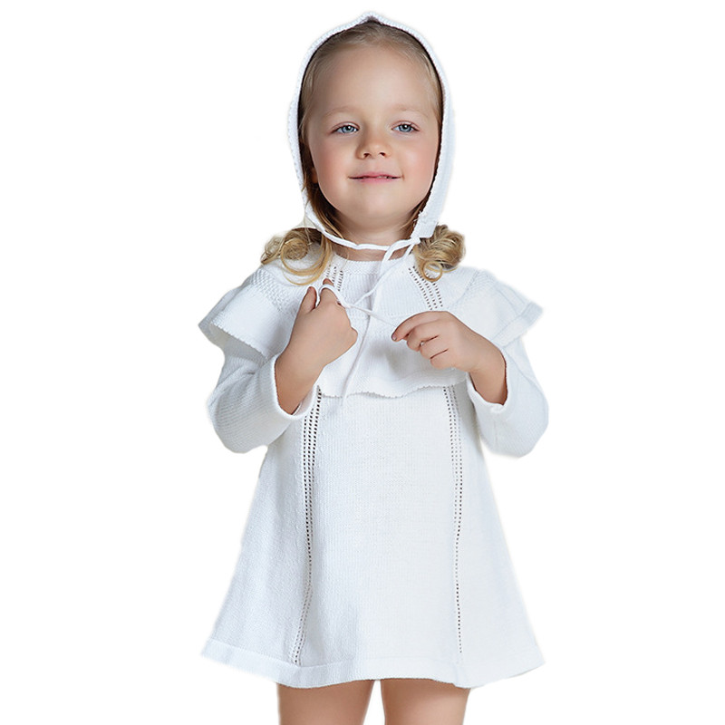 New Fashion Spring Long Sleeve Girl Knit Vestidos Toddler Baby Sweater Dress Infant Kids Princess Dresses For Girls With Hat<br><br>Aliexpress