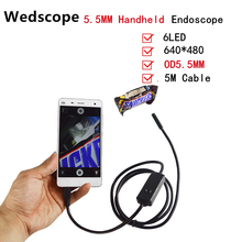 Wedscope 5.5MM 5M Borescope Mini Handheld Digital USB Endoscope Flexible Inspection microscope Camera  Handheld Endoscope