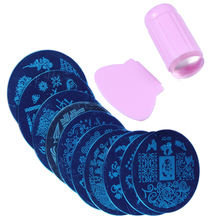 10Pcs Nail Stamping Plate With 1Pcs Pink Stamper Template Image Plates Nail Stamp Plate Nail Art Tools JT091(China)