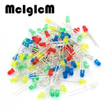 86023 Free shipping 100pcs 3mm LED Light White Yellow Red Green Blue Assorted Kit DIY LEDs Set electronic diy kit