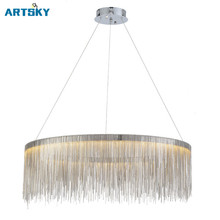 Modern Minimalist Fashion Ring Style Aluminum Fringe Hanging LED Pendant Lamp for Restaurant Living Room Bedroom