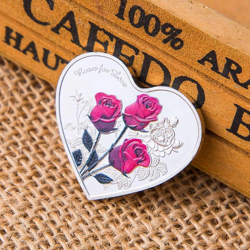 """52 languages /""""I Love You/"""" Rose Flower Heart Shape  Commemorative Coin"""
