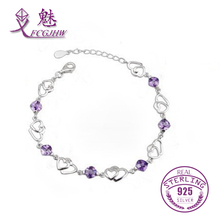 FCGJHW Attractive Design 925 Sterling Silver Natural Amethyst Stone Love Heart Bracelet for Women Fine Jewelry(China)