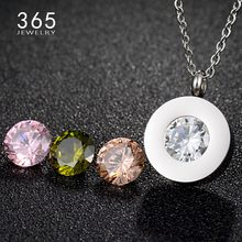 Valentine's Day Gift 4 Color Interchangeable CZ Pendant Necklace Silver Rose Gold Wedding Bridal Crystal Necklace for Women
