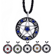 "Mens Womens Blue/Red/Black/Green/Purple CZs Pentacle Pentagram Star Pewter Pendant with 24"" Necklace Jewelry LP207(China)"