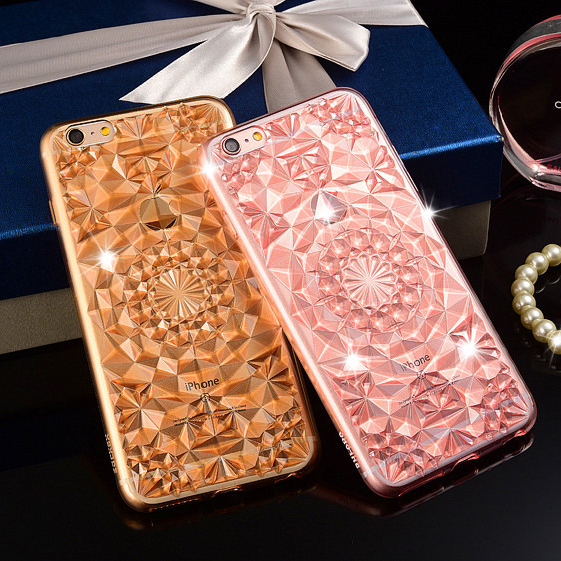 2016 Luxury 3D Glitter Diamond Crystal Jewelry Clear Soft TPU Fundas Cover Case for iPhone 5 5S 5 6s Plus Phone Cases(China (Mainland))