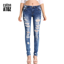 catonATOZ 2045 Low Waist Distressed Jeans New 2017 Ladies Cotton Denim Pants Stretch Womens Ripped Skinny Denim Jeans For Female(China)