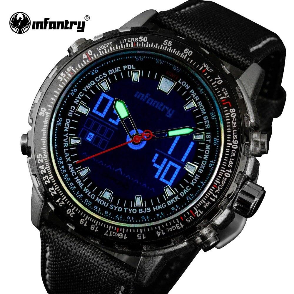 INFANTRY Luxury Brand Fashion Men Quartz Watches Nylon Strap Military Sports LED Analog Luminous Clock Reloj Hombre 2018<br>