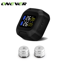Onever Wireless Motorcycle TPMS Tire Pressure Monitoring System Motor Tyre Aotu Alarm 2 External Sensor Tools Temperature Alarm(China)
