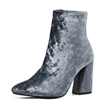 Fashion Velvet Boots Winter Women Velvet Square Heel Ankle Boots Women Pointed Toe Zipper High Heels Short Boots Botas Mujer