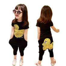 Girls Summer Season New Middle School Children Rhubarb Duck Haroun Pants Casual Sport Cotton Two Pieces Kids Clothing Sets Black