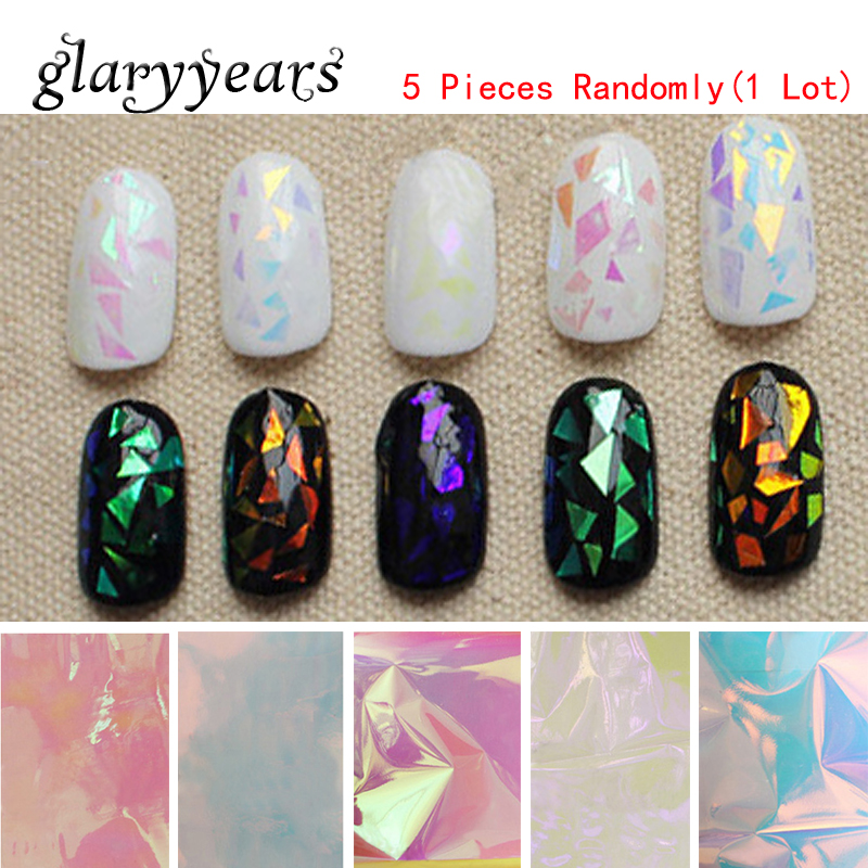 Randomly 5 Pieces Nail Art Foil Sticker Women Polish Manicure Tool Dream Aurora Decal Broken Glass Mirror Foil Sticker DIY Decor<br><br>Aliexpress