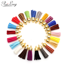 10pcs/lot multicolor mixed Suede Tassel For Keychain Cellphone Straps Charms 38mm Full Leather Tassels gold-color Caps randomly(China)
