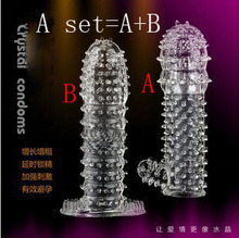 2 PCS/Set Sex Products For Mans Sex Toys Penis Lengthening Bold Condom Ring Crystal Sets(China)