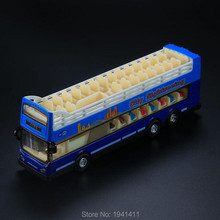 18*5.5CM alloy Cars Double Layer bus model tourism Sightseeing Bus Toy car model with Musical Flashing