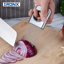 IRONX Onion Holder Fork Vegetable Potato Cutter Slicer Gadget Stainless Steel Fork Slicing Odor Remover Kitchen Tool(China)