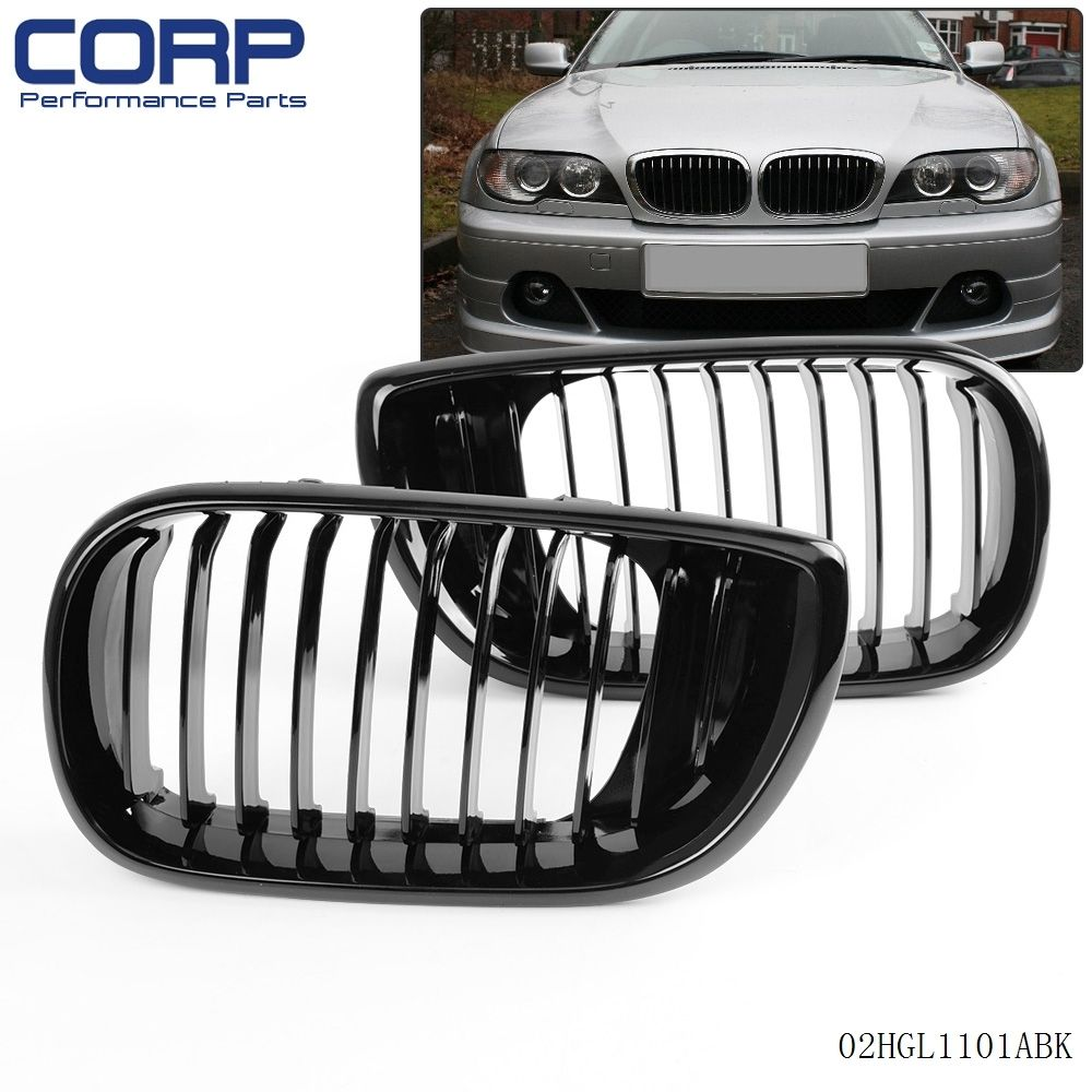 Matte black m color front car style radiator racing grills for bmw 2 pieces lot black for 2002 2005 bmw e46 3 series 4dr 4d fandeluxe Images