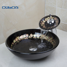 New Victory Hand Paint Washbasin Tempered Glass Basin Sink With Brass Faucet Tempered Glass Bathroom Sink Set  4003-1