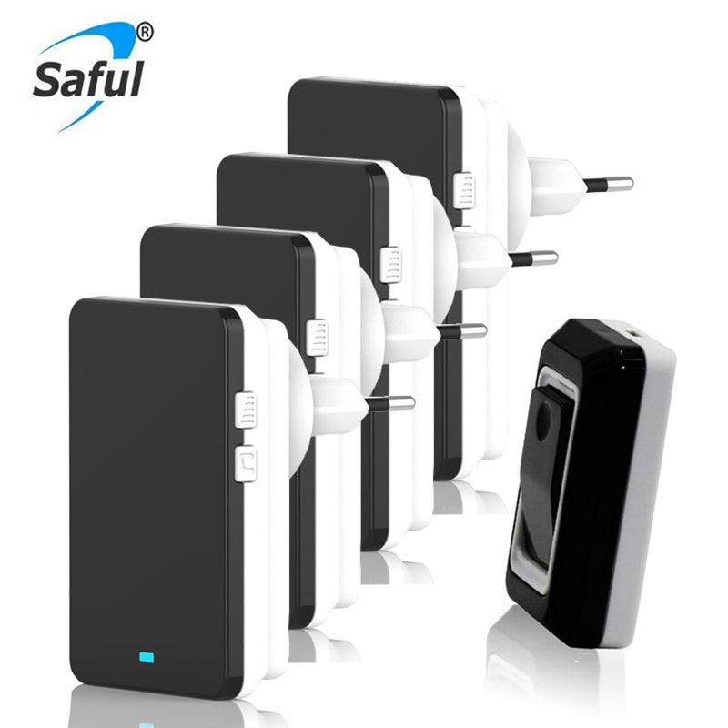 Saful Waterproof Doorbell EU/US/UK Wireless Bell 28 melody Easy Set Up Door Bell 4 Receivers Door Bell Wireless for Deaf/Old<br>