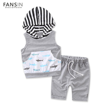 FANSIN Brand Cute Baby Boy Clothing Sets Newborn Hooded Tops Short Pants 2pcs Set Outfits Clothes Children Kids Costume Garment(China)