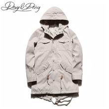 DAVYDAISY High Quality Men's Spring Jacket Western Long Style Hooded Solid Casual Trench Coat Men Street Overcoat DCT-120