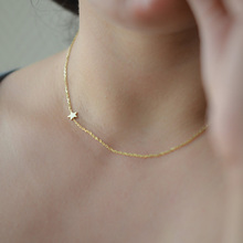 Gold Tiny Star Necklace, Simple Dainty Necklace, Bridesmaid Star Necklaces XL270