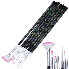 7 Style Nail Flat Liner Fan Paint Brush Set Acrylic Gel Polish Extension Flower Grids Drawing Rhinestone Dot Dust Coat Clean Pen(China)
