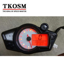 TKOSM New Motorcycle Speedometer Odometer Meter Adjustable Wheel Size Adjustable LCD Digital Bike Tachomete 10000 RPM(China)
