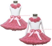 White Pettitop Top Shirt Dusty Pink Rose Bow Pettiskirt Dress Set 1-8Y MAPSA0539