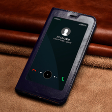 Original XOOMZ Case For Huawei Honor V9 Luxury Genuine Leather Window Smart Awake Sleep Flip Case Cover For Huawei Honor 8 Pro(China)
