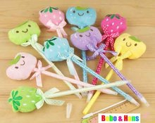 New cute plush animals & fruit style ball pen / fashion Promotion Gift /Wholesale(China)