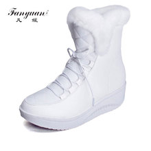 Fanyuan 2017 Hot Sale Shoes Women Boots Solid Slip-On Soft Cute Women Snow Boots Round Toe Flat with Winter Fur Ankle Boots(China)