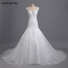 Buy Real Photos Lace Mermaid Wedding Dress 2017 V-Neck Button Back Tulle Vestido De Novia Beading Sexy Chapel Train Robe De Mariage for $207.68 in AliExpress store