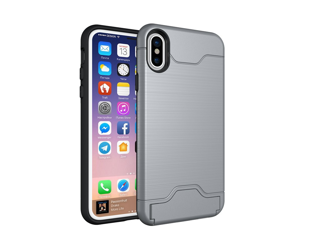 KEYSION Case For iphone X Shockproof cover for iPhone X Kickstand Armor Phone Bag Cases For iphone 10 Card Holder Coque 17
