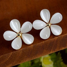 Luxury Ear Cuff Earring Brilliant Flower Stud Earrings with alloy Women Birthday Gifts(China)