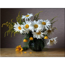100%Full Diamond embroidery Yellow white flowers Needlework DIY diamond painting mosaic Cross Stitch kit home decor pattern H454